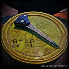One of a kind Stop Switch emergency Push Dagger, black G10 scales