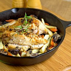 Flavorful herb-roasted chicken with roasted root veggies ready in 30 minutes.