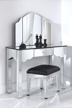 Romano Mirrored Dressing Table Set NOW £349.99   This #mirrored #furniture  Dressing Table