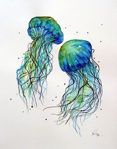JellyFish watercolour painting by www.fiona-clarke.com