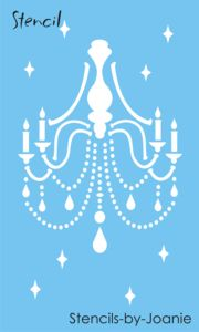 Vintage French Stencils | ... Decor Chic STENCIL Chandelier Tear Drop Beads French Candle Lamp