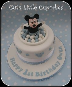 1st Birthday Mickey Mouse cake in pale blue & white