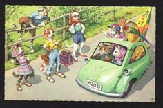 Alfred Mainzer Cats Postcard cats hitchhiking, family in car, going on vacation picclick.com
