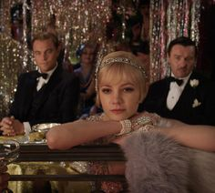 Tobey Maguire as Nick Carraway, Leonardo DiCaprio as Jay Gatsby, Carey Mulligan as Daisy Buchanan, and Joel Edgerton as Tom Buchanan in The Great Gatsby. Great Gatsby Party, The Great Gatsby Movie, Great Gatsby Fashion, 1920s Party, 1920s Wedding, Speakeasy Party, 1920s Speakeasy, Prohibition Party, Flapper Party