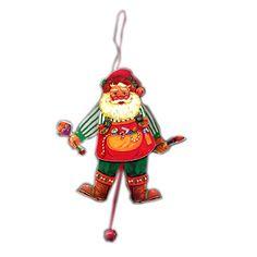 Wooden Pull String Jumping Jack Workshop Santa Christmas Tree Ornament Toy