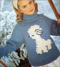 patrón de suéter de niña tricot con oveja blanca