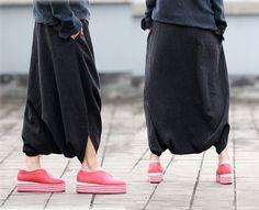 063Womens Multi Washed Linen Cotton Blend Harem Pants by EDOA