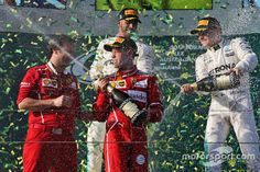 Podium: winner Sebastian Vettel, Ferrari, second place Lewis Hamilton, Mercedes AMG third place Valtteri Bottas, Mercedes AMG Valtteri Bottas, Lewis Hamilton, Mercedes Amg, Formula 1, F1, Ferrari, Third, Racing, Places