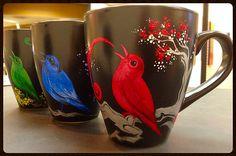 3 Singing Birds - Hand Painted Ceramic Mugs - https://www.etsy.com/listing/215430589/3-singing-birds