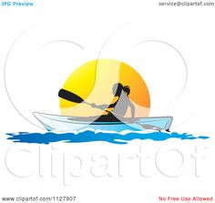 Kayak Tattoo Art   Clipart Of A Silhouetted Woman Kayaking At Sunset - Royalty Free ...