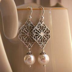 Earrings for bridesmaids?? pearl earrings, Swarovski crystal pearls, antiqued silver filigree, sterling silver ear wires, bridesmaid jewelry