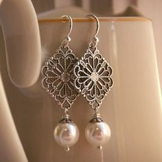 Earrings for bridesmaids?? pearl earrings, Swarovski crystal pearls, antiqued silver filigree, sterling silver ear wires, bridesmaid jewelry