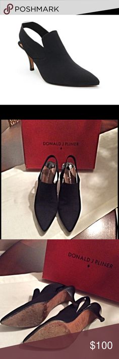 Donald Pliner TIME-D Slingback Excellent Shape Donald Pliner TIME-D sling back.  Made in Spain, leather soles, worn a couple times, 3 inch stacked heel.  Very comfy.  Purchased at the Donald Pliner store in Vegas. Donald Pliner Shoes Heels