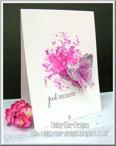 Just because, watercolor, spray splat, paint, butterfly Diy Cards, Your Cards, Kirigami, 3d Cuts, Karten Diy, Greeting Cards Handmade, Butterfly Cards Handmade, Card Making Inspiration, Card Maker