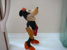 "VERY Rare!! 1930s Minnie Mouse Steiff velveteen doll Mickey Mouse 6.5"" REDUCED"
