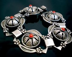 Bracelet | Designer ?  Sterling silver. Concho style. 1930's - 1940's Mexican