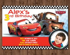 personalized disney cars lightning mcqueen tow mater diy printable photo birthday invitation x pdf jpg file only