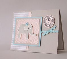 Welcome Little One  Cute Elephant  for Baby by Durhamhouse on Etsy, $2.50