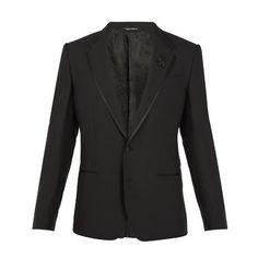 Dolce & Gabbana Bee-embellished wool-blend tuxedo jacket (€2.015) ❤ liked on Polyvore featuring men's fashion, men's clothing, men's suits, black, dolce gabbana mens clothing, dolce gabbana mens suits and mens tailored suits