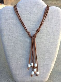 Brown Suede wraparound necklace with Freshwater pearls. Simply wrap it around your neck and tie it the length you prefer. Old Jewelry, Pearl Jewelry, Jewelry Crafts, Beaded Jewelry, Fine Jewelry, Handmade Jewelry, Jewelry Necklaces, Jewelry Making, Chain Bracelets