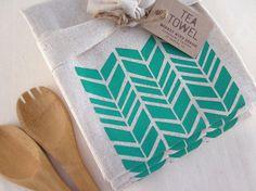 Modern Shapes   Herringbone Tea Towel  Screen by monkeymindesign, $10.00