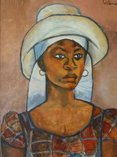 haitianhistory: Portrait of a Woman (wearing a Peasant Hat) by Haitian artist Luce Turnier (1924-1994).
