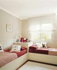 My twin sister I had a bedroom set similar to this configuration. It was fantastic! Girl Bedroom Designs, Girls Bedroom, Bedroom Decor, Twin Girl Bedrooms, Bedroom Ideas, Shared Bedrooms, New Room, Dream Bedroom, Magical Bedroom