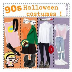 """90s Halloween costumes"" by halloweentippers ❤ liked on Polyvore featuring MANGO, Cartoon Network, L. Erickson, London Rebel, Monki, Frame Denim, Misha Nonoo, Dr. Martens, Lime Crime and RE/DONE"