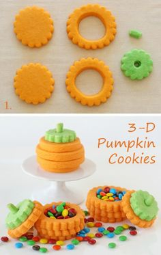 3-D Pumpkin Cookies As if these 3-D pumpkin cookies are awesome enough, they are stuffed with candy as a fun surprise! I like the idea of wr...