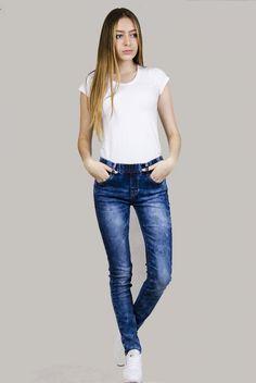 Spodnie jeansowe rurki z gumką w pasie