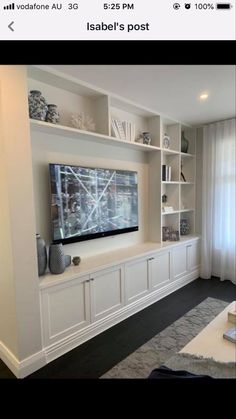 Living Room Built In Wall Units, Built In Tv Wall Unit, Built In Tv Cabinet, Tv Built In, Basement Living Rooms, Living Room Tv Unit Designs, Built In Bookcase, Home Living Room, Living Room Decor