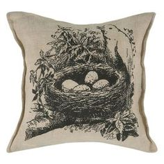 Eco-friendly pillow with a birds nest design.   Product: PillowConstruction Material: Jute, cotton and polyester fillColor: Beige and blackFeatures:  Zippered closure Insert included Dimensions: 18 x 18Cleaning and Care: Hand wash cold