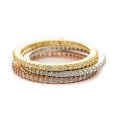 Infinity Bands in sterling silver, 14k rose gold plate or 14k yellow gold plated bands.  Look the part of the real diamond bands, but the cost is much better!  Perfect gift for anyone to wear as ring guards, on a pointer finger or pinky finger as well.