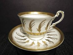 EB Foley Tea Cup 3 and Saucer Pattern 4806 Vintage Gold Plumes & Filigree