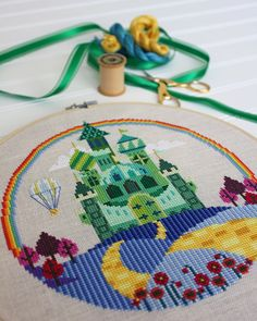 The Emerald City  Wizard of Oz  Satsuma Street cross stitch