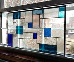 Geometric Stained Glass Window Panel Blue and Clear Custom Custom Stained Glass, Stained Glass Designs, Stained Glass Patterns, Stained Glass Art, Stained Glass Windows, Mosaic Glass, Modern Stained Glass Panels, Stained Glass Frames, Window Glass