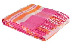 Pink and orange throw from Zara.