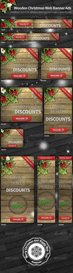 Wooden Christmas Web Banner Ads Template PSD | Buy and Download: http://graphicriver.net/item/wooden-christmas-web-banner-ads/6280653?WT.ac=category_thumb&WT.z_author=hoodedclaw&ref=ksioks