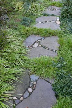 Stepping Stone Paths, Stone Garden Paths, Garden Steps, Stepping Stones For Garden, Landscape Stepping Stones, Walkway Garden, Stone Pathways, Rock Pathway, Stone Steps