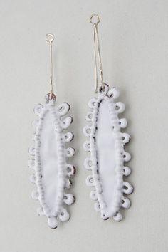 """Anna Lorich """"White edge earrings"""" / Electroformed copper, enamel, 14k gold."""