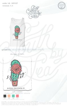 Spring Break | Alpha Omicron Pi | AOII | Cactus T-Shirt Design | South by Sea | Greek Tee Shirts | Greek Tank Tops | Custom Apparel Design | Custom Greek Apparel | Sorority Tee Shirts | Sorority Tanks | Sorority Shirt Designs