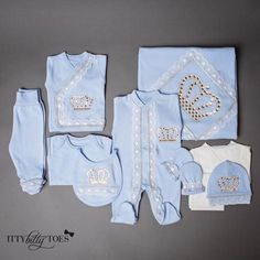 This luxury layette is the perfect set for your little prince or princess. The newborn take home set is made from the richest, softest cotton fabric with jewels Newborn Outfits, Baby Boy Outfits, Long Sleeve Undershirts, Baby Girl Items, Cool Baby Clothes, Baby Bling, Designer Baby Clothes, Burp Cloth Set, Felt Decorations