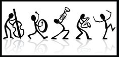 Musical instrument by icon: Stick figure band. Musical instrument by icon: Stick figure band. Music Drawings, Black And White Posters, Music Decor, Music Tattoos, Stick Figures, Poster On, Pyrography, Doodle Art, Music Doodle