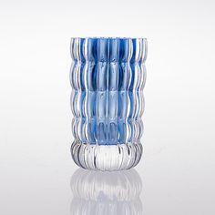 HELENA TYNELL - Glass vase for Riihimäen Lasi Oy, clear and light blue (neodymium) glass, Finland.  [h. 11 cm, Ø 6,5 cm] Glass Design, Design Art, Bukowski, Finland, Modern Contemporary, Glass Art, Retro Vintage, Light Blue, Auction