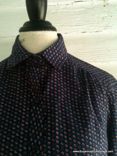 Vintage Floral Blouse  1970s NAUTICAL Shirt by runaroundsuevintage, $16.00
