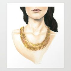 Gold Necklace Art Print by ASteines - $14.56