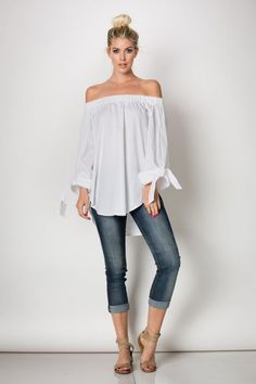 Best 12 Neb_Chic_Fashions – Off shoulder striped top w/ wrist tie – SkillOfKing. White Off Shoulder, Off Shoulder Tops, Off Shoulder Blouse, Cold Shoulder, Cool Outfits, Casual Outfits, Fashion Outfits, Spring Summer Fashion, Spring Outfits