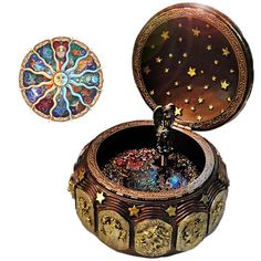 Buy Vintage Music Box with 12 Constellations Rotating Goddess LED lights Twinkling Resin Carved Mechanism Musical Box with Sankyo Wind Up Signs of the Zodiac Gift For Birthday Christmas Gold) Cute Jewelry, Jewelry Box, Antique Music Box, Vintage Music Boxes, Steampunk Accessoires, Gift For Music Lover, Music Lovers, Twinkle Twinkle, Constellations