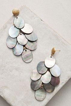 Slide View: 1: Mother-Of-Pearl Drop Earrings