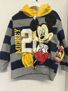 Disney Mickey Mouse Boys Toddler Jacket Hoodie Size 3T Striped Navy Gray Yellow | eBay